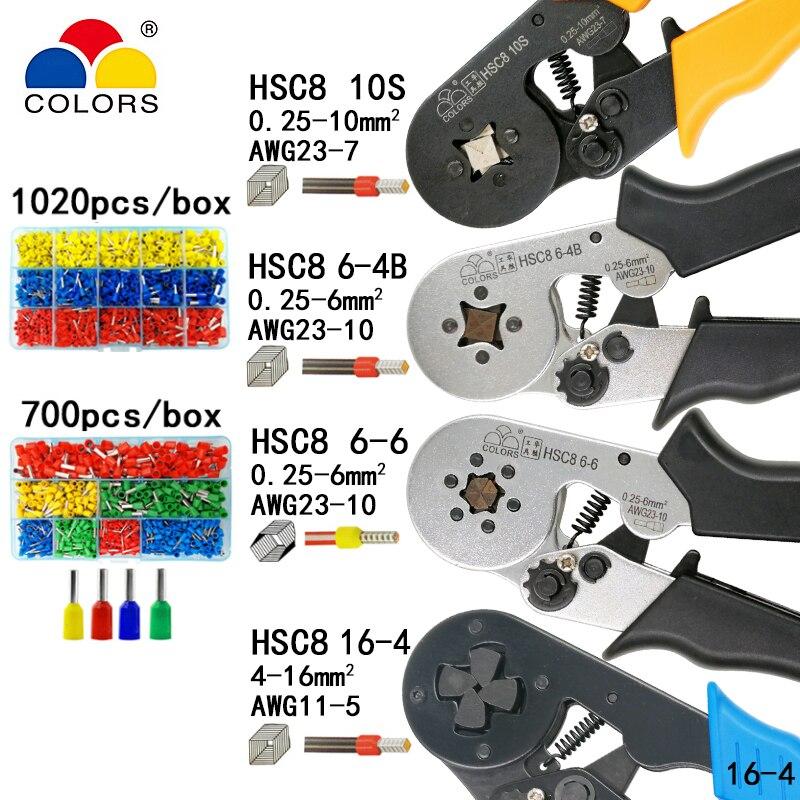 Crimpen werkzeuge zangen elektrische rohr terminals box mini clamp HSC8 10S 0,25-10mm2 23-7AWG 6-4B/6- 6 0,25-6mm2 16-4 werkzeuge sets