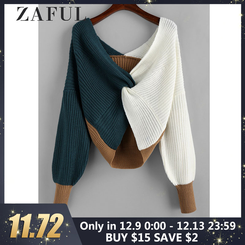 ZAFUL Cotton Sweater Women Pull Femme Plunge Color Blocking Twist Sweater 2019 Winter Pullovers Warm Loose Oversized Sweater