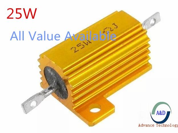Original 25W Aluminum Power Metal Shell Case Wirewound Resistor 0.01 0.1 1 10 100 1k 20 30 2k 200 390 470 500 2k 20K Ohm