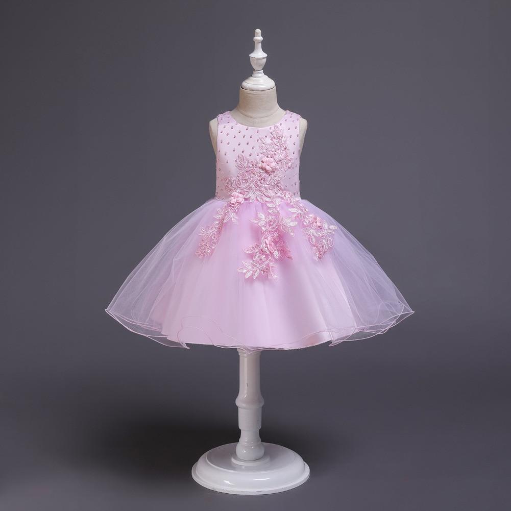 2019 New Style Formal Dress Europe And America Girls Dress Pearl Tutu School Dance Performance Clothing