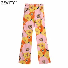 Zevity Frauen Mode Farbe Spiel Floral Print Flare Hosen Retro Weibliche Chic Taschen Sommer Lange Hosen Pantalones Mujer P1099
