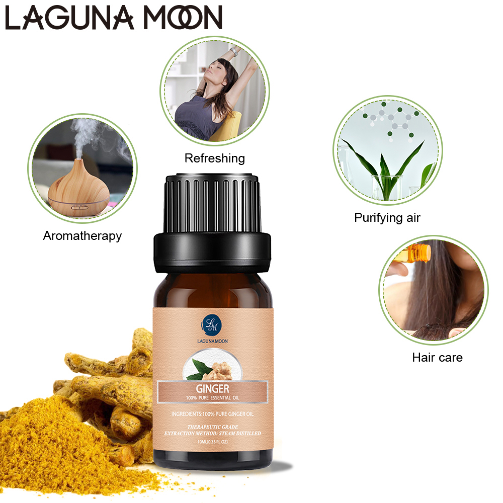 Lagunamoon Ginger 10ML Pure Essential Oil Massage Diffuser Aroma Cedar Pine Tangerine Black Pepper Cypress Juniper Ginger Oil