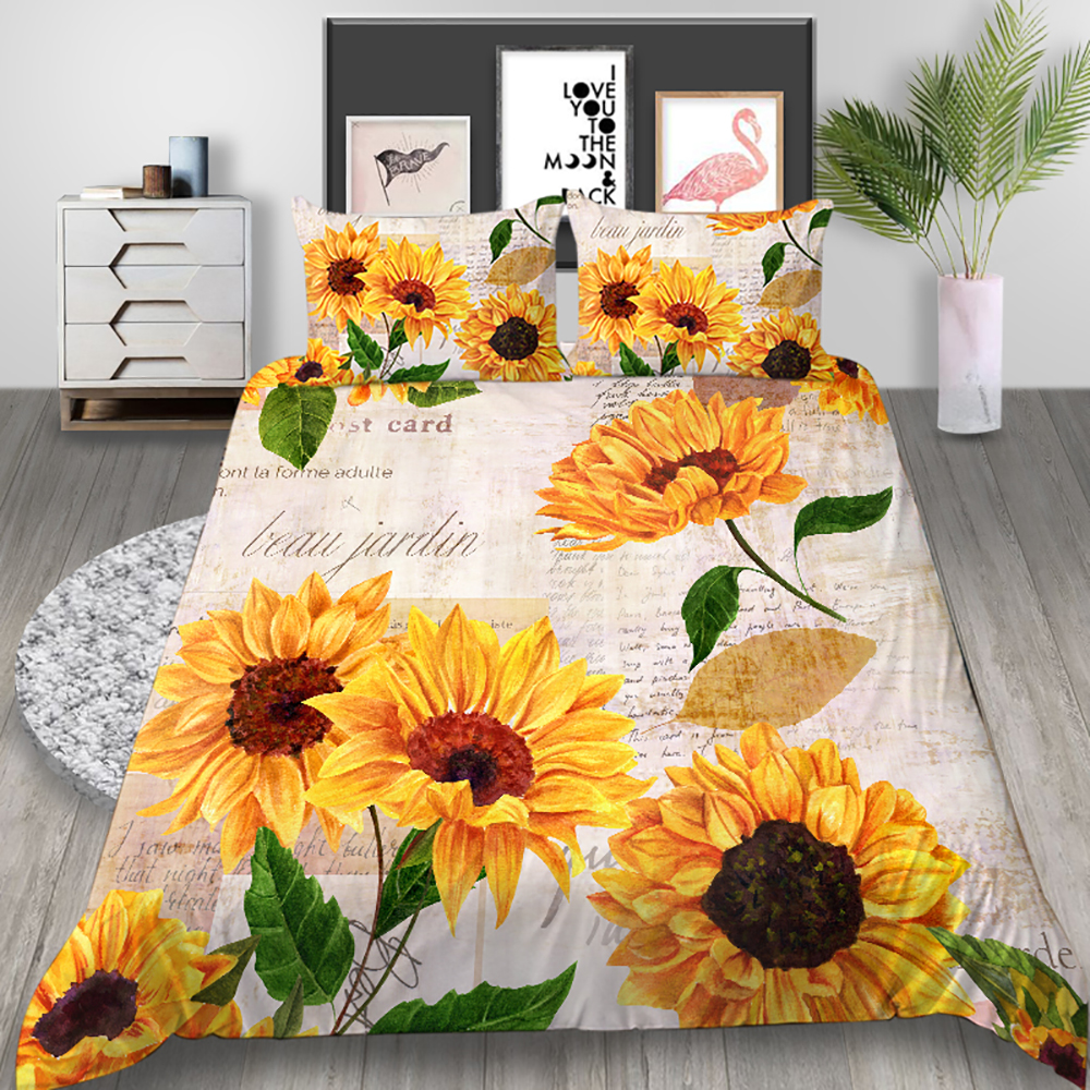 Thumbedding Sunflower Bedding Set Van Gogh Poetic Romantic Duvet Cover Queen King Twin Full Single Double Unique Design Bed Set