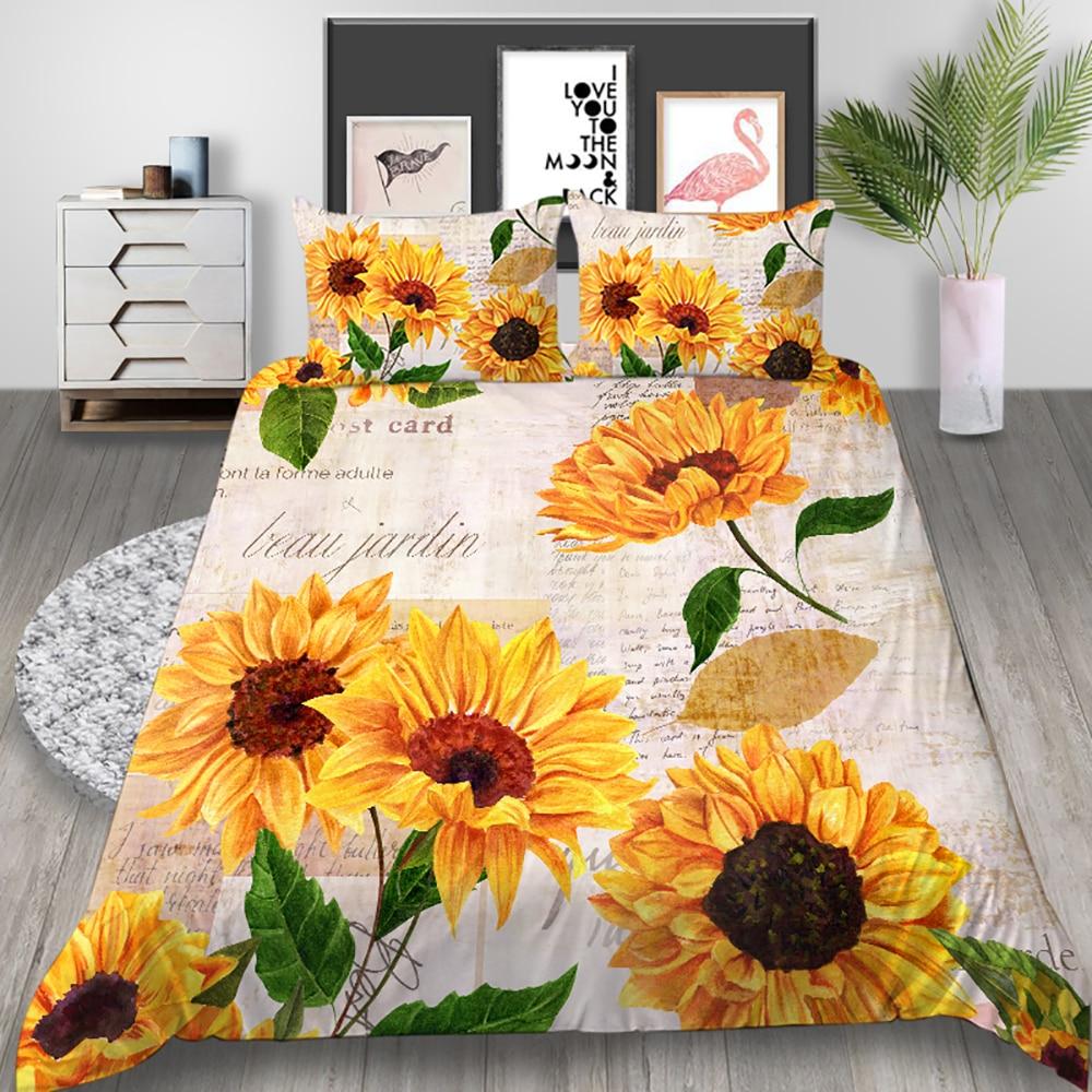 Thumbedding Sunflower Bedding Set Van Gogh Poetic Romantic Duvet Cover Queen King Twin Full Single Double Unique Design Bed Set