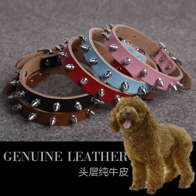 Pure Leather Pet Collar Bullet Headdress Pet Traction Pet Supplies Genuine Leather Bandana Small And Medium-sized Dogs
