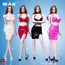 Atx048 1/6 Сексуальная Женская юбка из искусственной кожи костюм