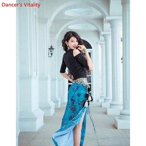 Image 5 - Saia para treinamento de dança do ventre, roupas femininas para treino de dança do ventre, saia com brilho oriental, desempenho indiano para prática de dança