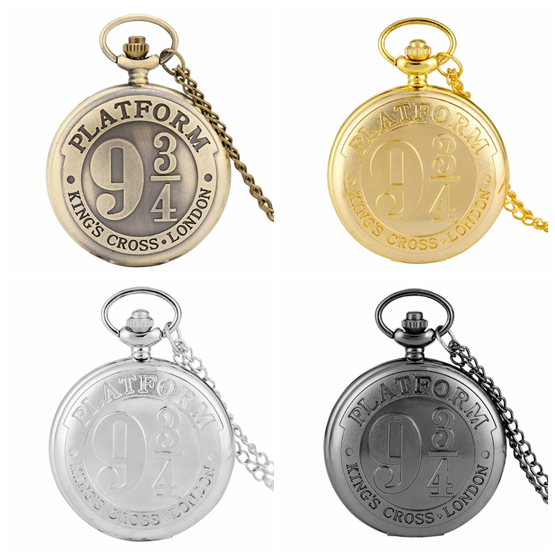 Retro Platform 9 3/4 King's Cross London Quartz Pocket Watch Bronze Extension Magic School Necklace Pendant Antique Clock Gifts