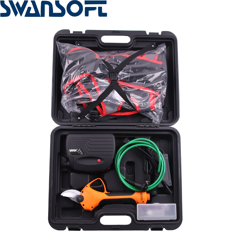 SWANSOFT Electric Garden Pruner 35MM  Rechargeable Orchard Scissors SK5 Blades Pruning Shear Branch Cutter Grafting Shears Tool