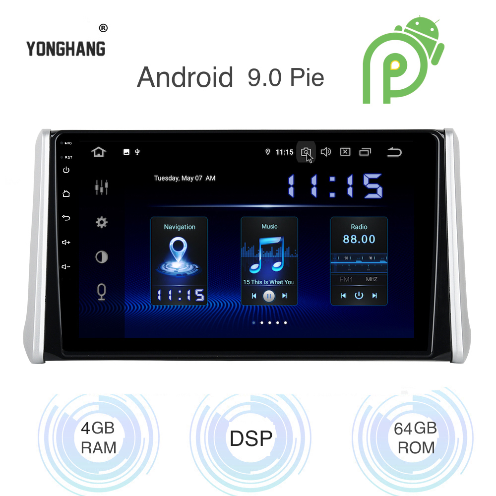 Android 9.0 Car <font><b>Radio</b></font> 1 Din GPS Navi for <font><b>Toyota</b></font> RAV4 <font><b>2018</b></font> 2019 PX6 DSP IPS HDMI 4Gb+64Gb 8-Core RDS WIFI Bluetooth AUX USB Map image