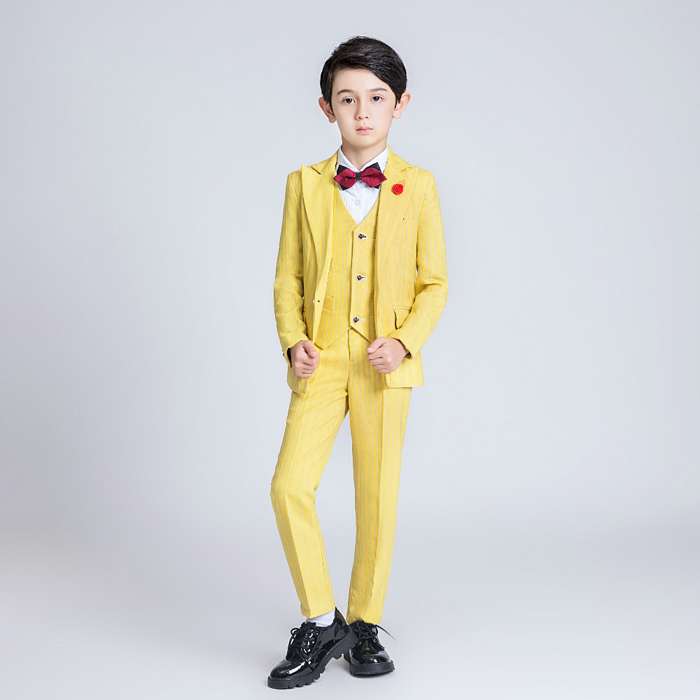 YuanLu 6PCS Kids Suits For Boy Wedding Party Performance Blazer Jacket Formal Suits Blazer Vest Pants Children Clothes Yellow