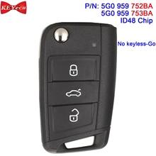 KEYECU OEM per Volkswagen MQB Golf per Skoda Octavia A7 telecomando portachiavi 434MHz ID48 5G0959752BA / 5G0 959 752BA HU66