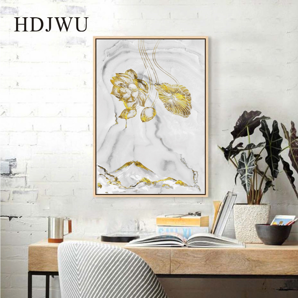 Nordic Abstract Art Home Wall Picture Canvas Painting Golden Geometry Printing Posters Wall Pictures for Living Room DJ627 in Painting Calligraphy from Home Garden
