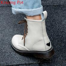 Krazing pot novo couro genuíno clássicos dedo do pé redondo motocicleta ankle boots confortável fundo grosso amor impressão sapatos de inverno l80