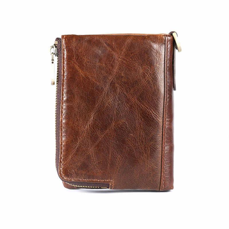 Nueva cartera de cuero genuino con protección RFID para hombre, monedero pequeño portatarjetas corto, cartera con cadena, cartera para hombre