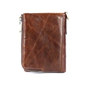 Image 3 - Yeni RFID koruma hakiki deri erkek cüzdan bozuk para cüzdanı küçük kısa kart tutucu zincir portföy Portomonee erkek cüzdan cep