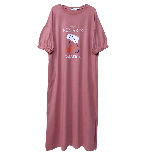 NYFS Summer Dress 2021 New Elastic bubble Short Sleeve Long Dress Vestidos Robe Elbise Fashion Cotton Printing Woman Dress 5