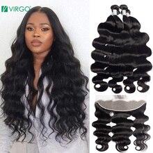 Дева 28 30 32, большие размеры 34-40 дюймов бразильские волосы категории Virgin 3 4 пряди с 13x4 кружева фронтальные и закрытия человеческие волнистые в...