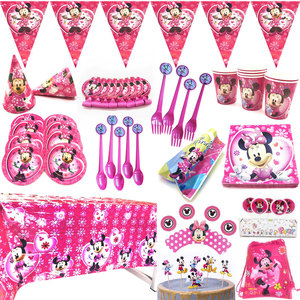 Disney Dot Pink Minnie Mouse Theme Party Supplies Paper Cup Plate Cap Straws Gift Bag Kids Girl Birthday Party Baby Shower Decor
