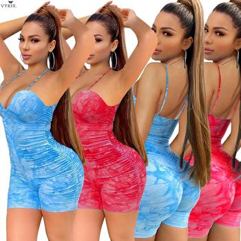 Women Summer Tie Dye Print Spaghetti Strap Plunging V-neck Stacked Bodycon Playsuit Sexy Party Draped Rompers Clubwear Bodysuits red spaghetti v neck sleeveless bodysuits