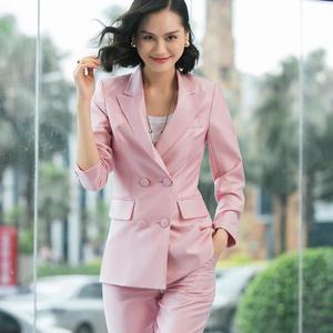 Image 4 - Zarif uzun bayanlar blazer düğmeleri ile kadınlar katı ceket yüksek kaliteli dış giyim ceket siyah pembe beyaz, mavi şampanya