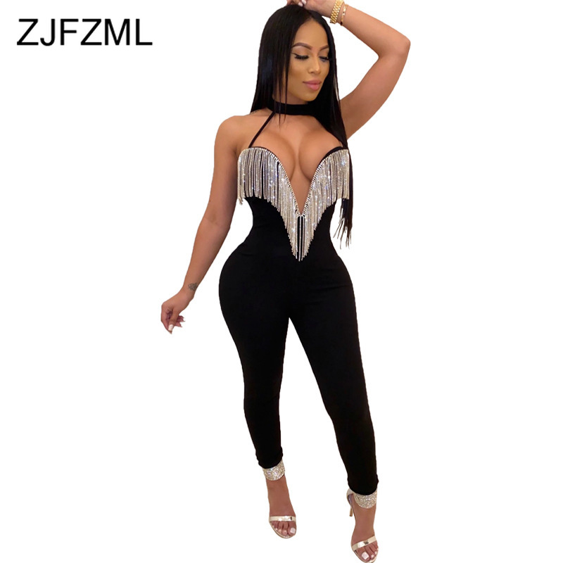 Sexy Sequin Tassels Rompers Womens Jumpsuit Sleeveless Halter Bodycon Playsuits Party Clubwear Low-Out Long Bandage Overalls