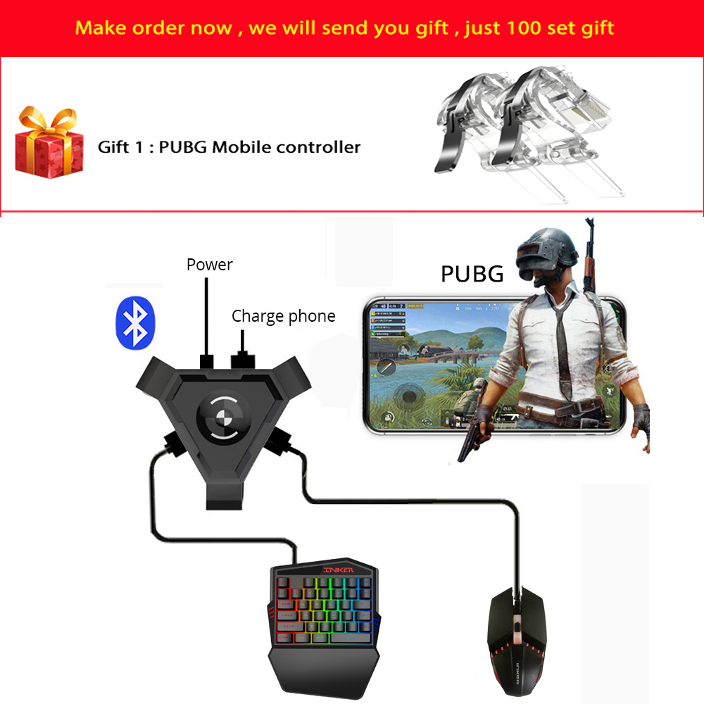 Kuulee PUBG Mobile Gamepad Controller Gaming Keyboard Mouse Converter For Android ios Phone IPAD Bluetooth 4.1 Adapter Free Gift image