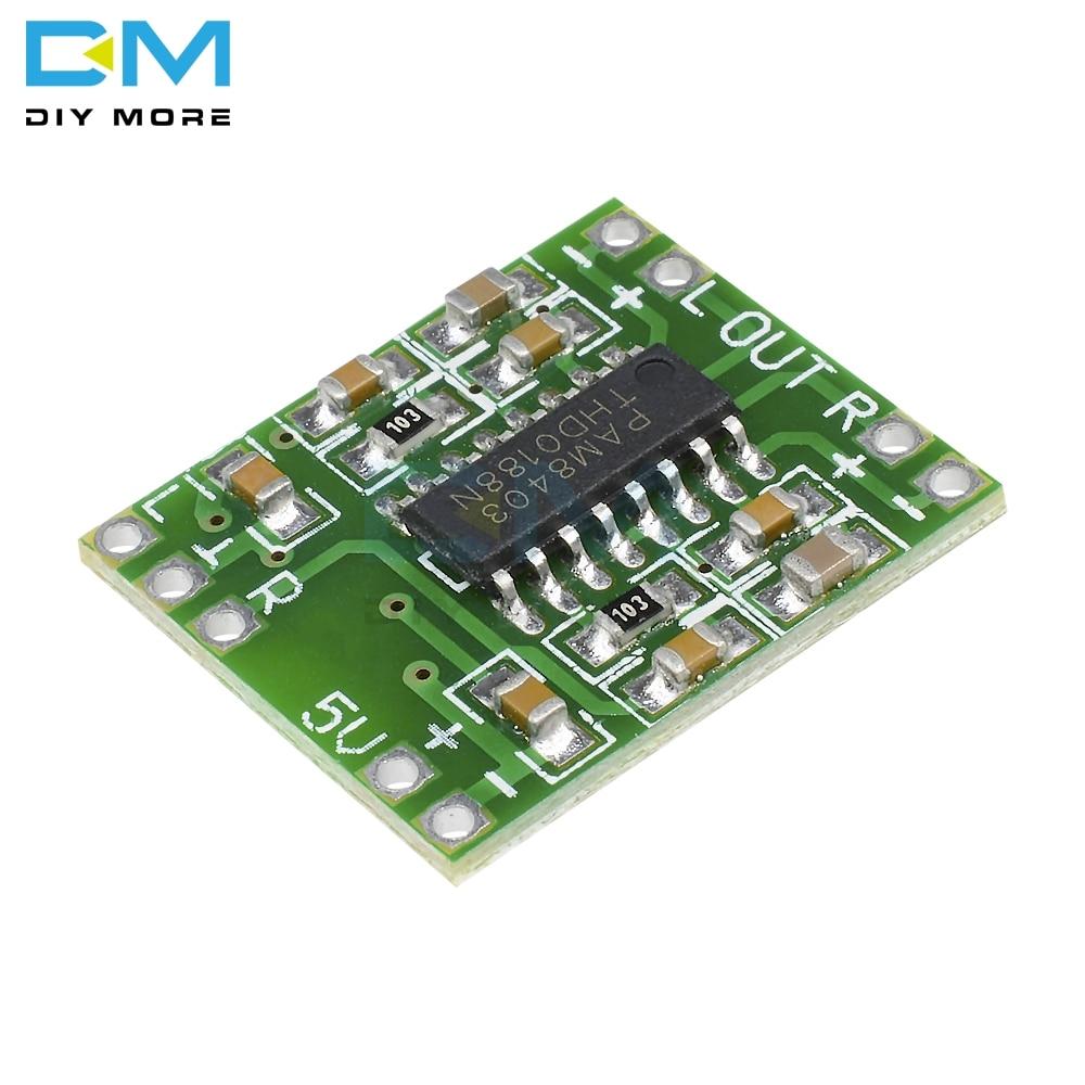 DC 5V 2 Channels Stereo 3W+3W Digital Power PAM8403 Module Class D Audio Amplifier Board USB Power Ultra-miniature Design