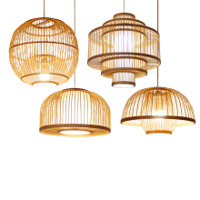 Chinese Bamboo&wooden Led Pendant Lights Living Room Individual Theme Restaurant Pendant Lamp Diy Light Fixtures Luminaire