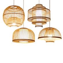 Chinese Bamboo&wooden Led Pendant Lights Living Room Individual Theme Restaurant Pendant Lamp Diy Light Fixtures Luminaire