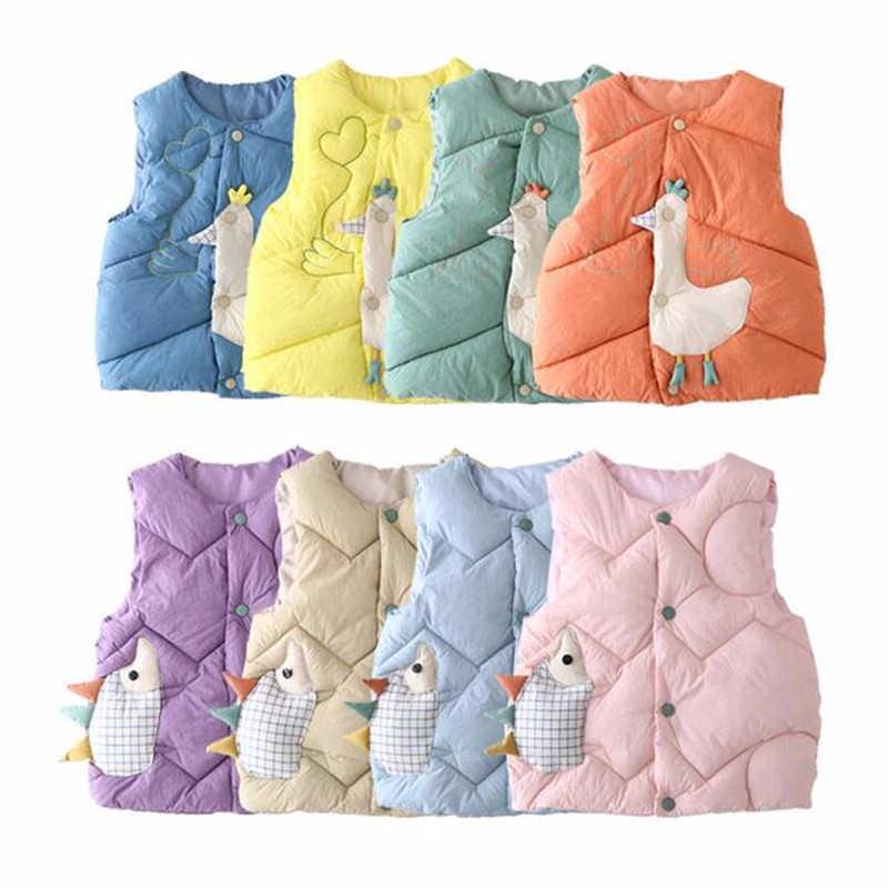 子供のダウン綿の漫画のベスト赤ちゃん少年少女のためかわいい暖かいチョッキ秋冬子供服