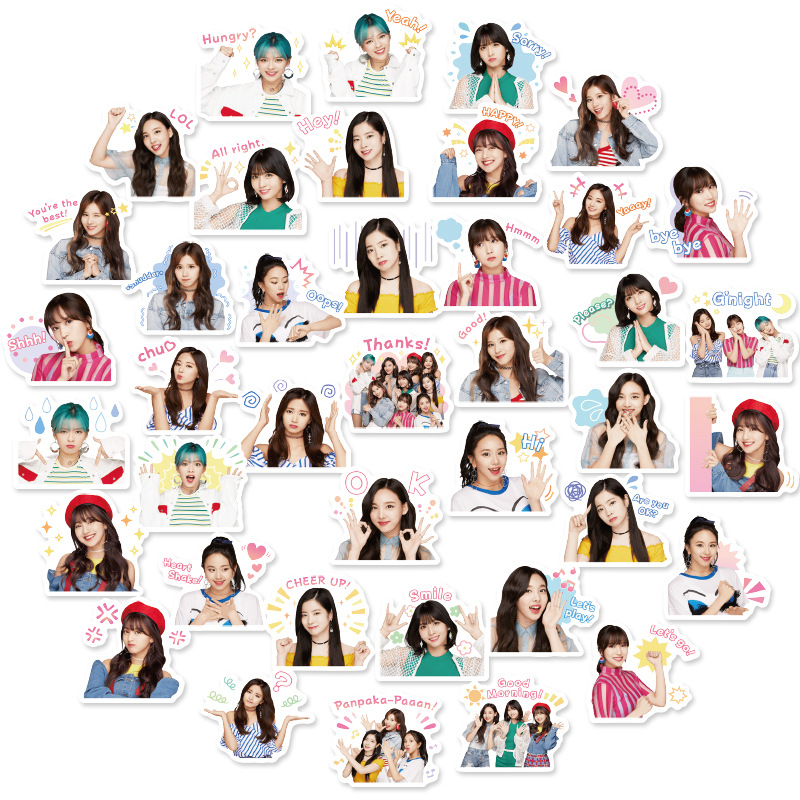 40 Pcs Kpop Twice Summer Nights Adhesive Photo Sticker For Mobile Phone Guitar Luggage DIY Stickers