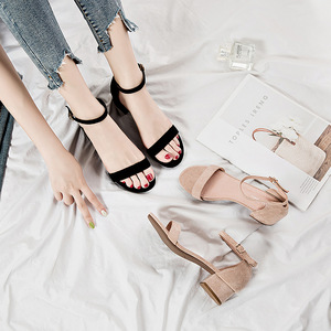 Image 4 - Beige Black Gladiator Sandals Summer Office High Heels Shoes Woman Buckle Strap Pumps Casual Women Shoes Plus Size 34 40 n686