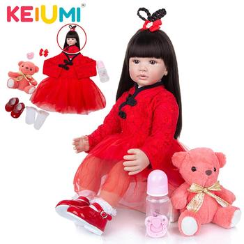 KEIUMI 60 CM Reborn Girl Doll Cloth Body Straight Hair Realistic Princess Bebe For Children Xmas Gift Playmate - discount item  48% OFF Dolls & Accessories