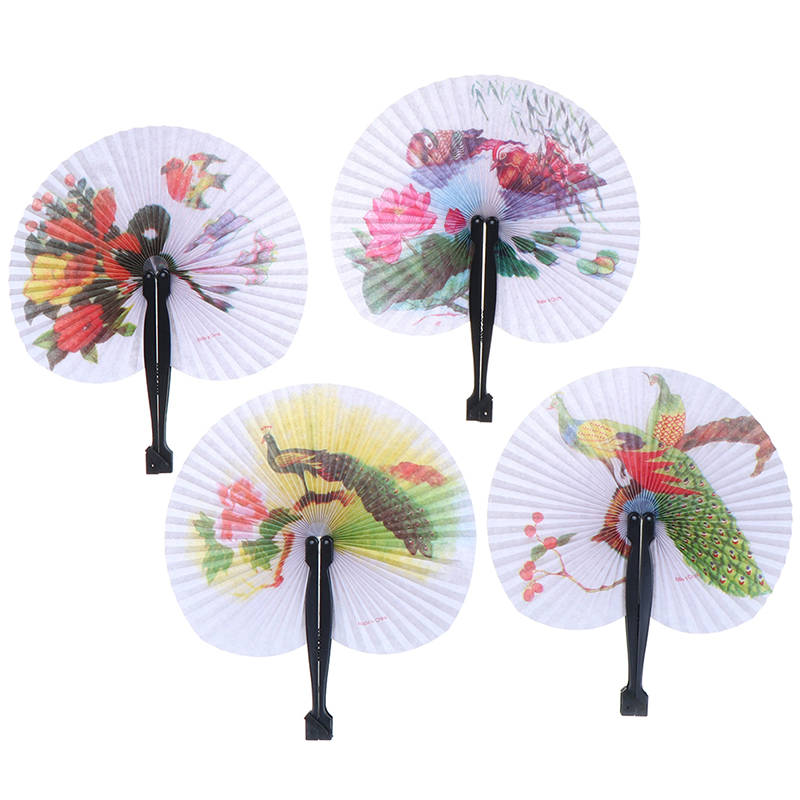 1PC Female Flower Handheld Fan Chinese Pocket Folding Hand Fan Round Circle Printed Paper Decorative Fan Party Decor Gift Random