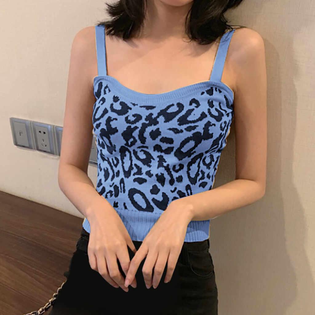MIARHB krótki top kobiety letna koszulka topy leopard seksowne topy harajuku kamizelka modny top kwadratowy dekolt koszulka bez rękawów kobiety topy ubrania