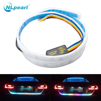 Nlpearl Car Light Assembly 1.2M 12V Led Strip RGB Additional Stop Light Dynamic Streamer Trunk Tail Brake Light Turn Signal Lamp