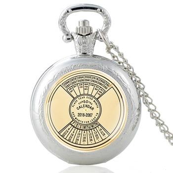 50 Years Super Perpetual Silver Vintage Quartz Pocket Watch Men Women Unique Glass Dome Pendant Necklace Hours Clock Gifts недорого