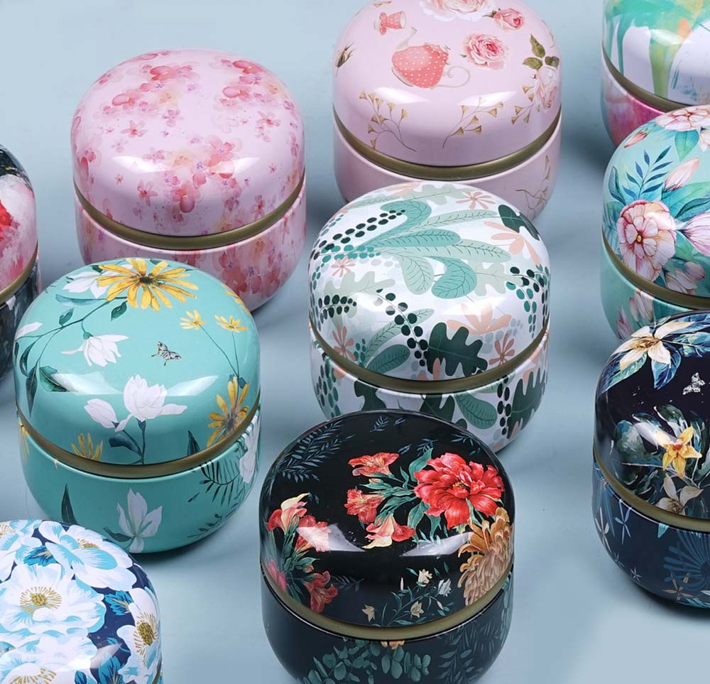 1PC 60g Mini Tin Storage Box Small Empty pot Tea Containers Candle Cans Candy Mini Round Cans Portable Tin Cans Packaging