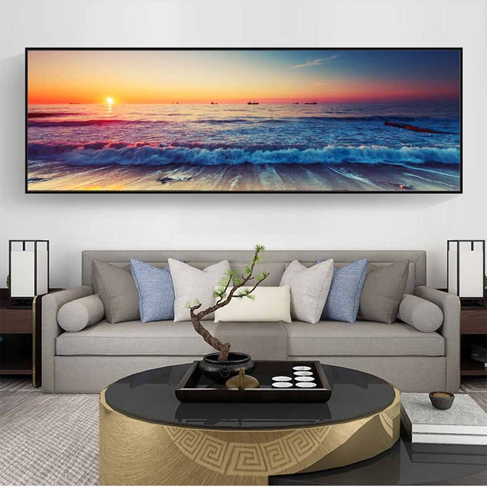 Закат на берегу моря холст настенные картины художественные плакаты и принты океан волны Искусство панно для номер Декор стены без рамки