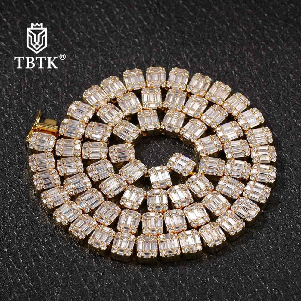 TBTK Iced Out White Square Baguette Cluster Chains Necklace Men Trendy Charms Jewelry Silver Hiphop Bling Heavy Necklace