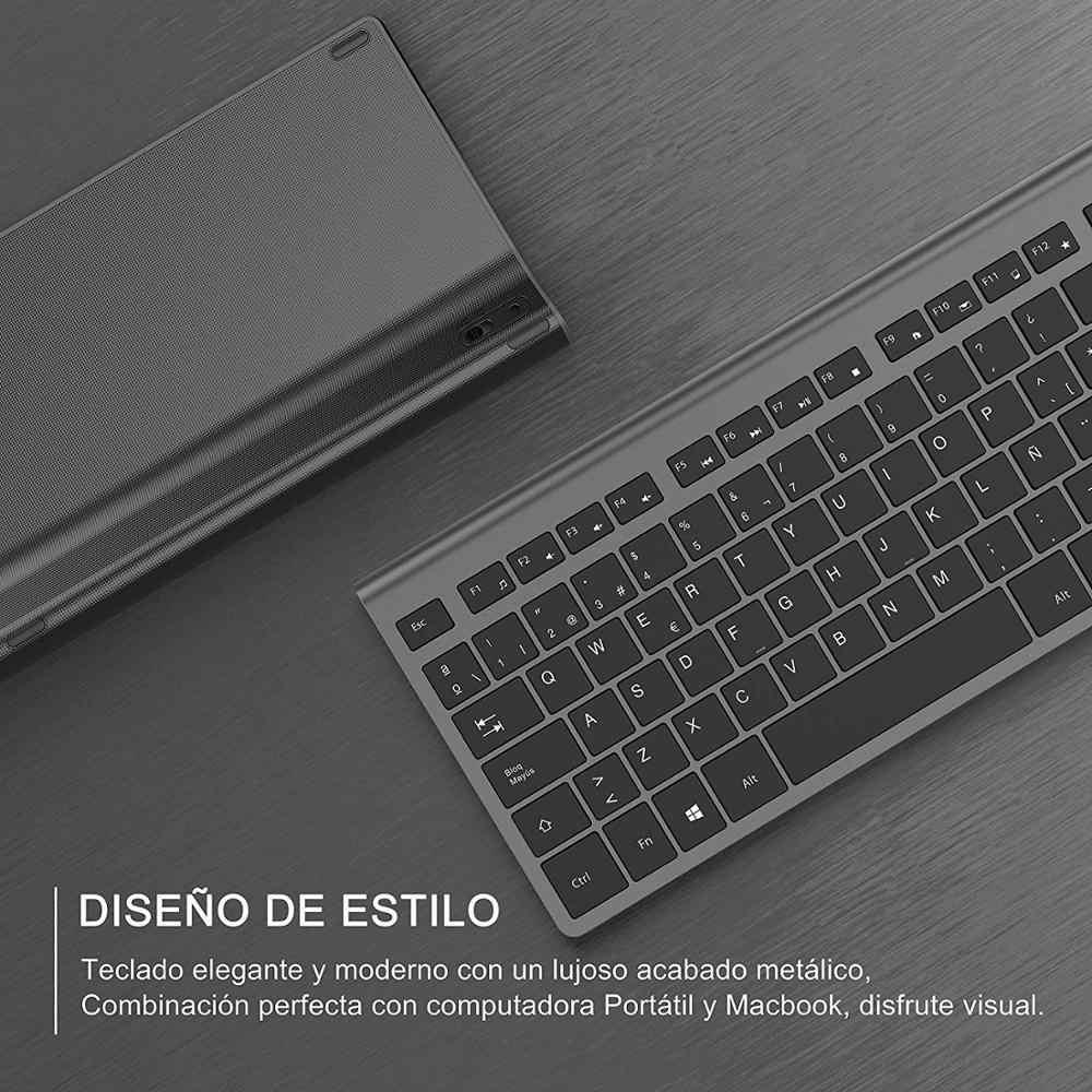 Draadloze Toetsenbord En Muis, Spaanse Layout, Oplaadbare Batterij, Stabiele Usb Aansluiting, Geschikt Voor Notebook, computer, Grijs