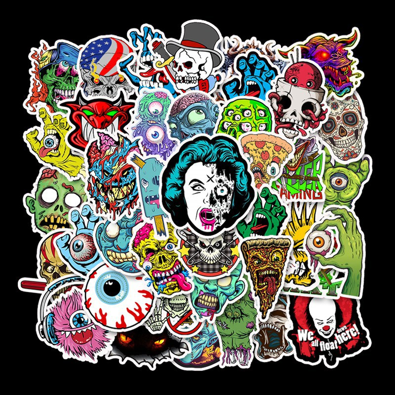 50PCS skull doodle cartoon creative stickers, horror,  waterproof, fun stickers for mobile phones, scrapbooking / decoration