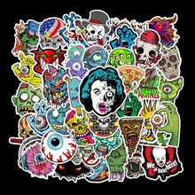 50PCS skull doodle cartoon creative stickers, horror,  waterproof, fun stickers for mobile phones, scrapbooking / decoration