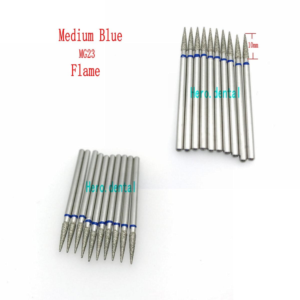 10pcs 2.35mm Dental Shank Diamond Grinding Bur Drill Bits For Dental Grinding Flame/Taper/Pearl Shape Dental Polishing Burs