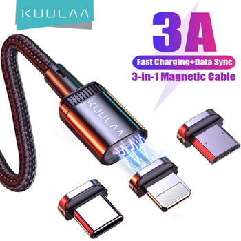 KUULAA Mobile Phone Charging Cable Magnetic Cable USB Type C Micro USB Charger Cord Wire for iPhone Samsung Huawei Xiaomi Redmi 1