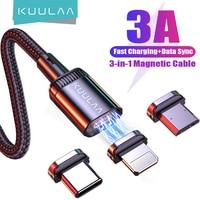 KUULAA-Cable de carga magnético para teléfono móvil, Cable Micro USB tipo C para iPhone, Samsung, Huawei, Xiaomi Redmi