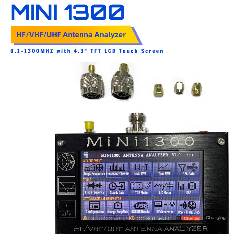 Mini1300 <font><b>4.3</b></font> inch <font><b>LCD</b></font> Touch Screen 0.1-1300MHz HF/VHF/UHF ANT SWR Antenna Analyzer Meter Tester image