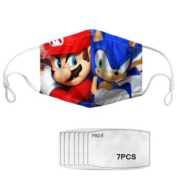 Kids Children Cartoon Pretty Sonic Print Masks Fashion Breathable Anti Dustproof Thicken Face Mouth Mask Clothing accessories