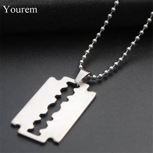 stainless steel beads chains Chic Shaving blade pendant necklaces for men punk witcher